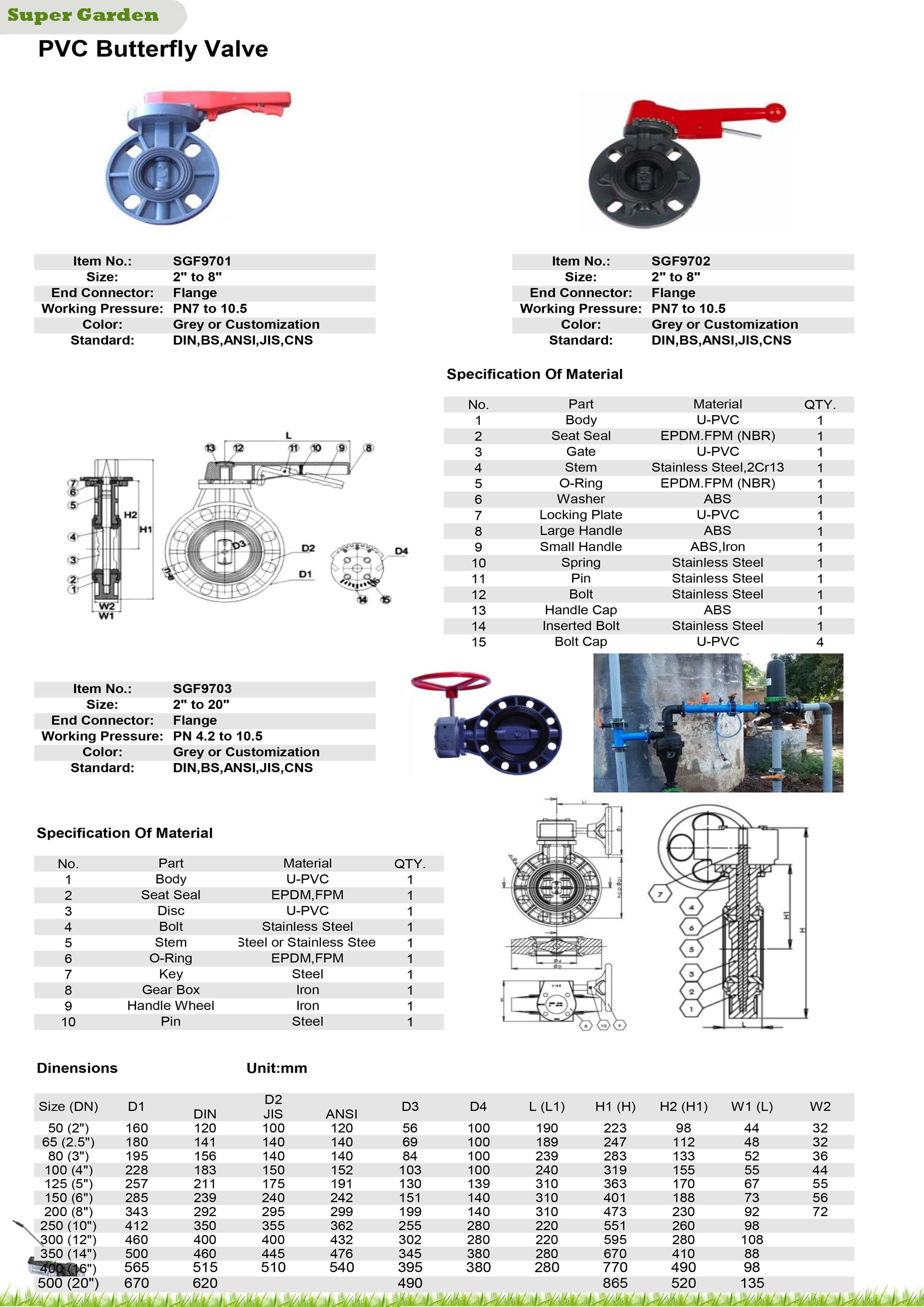 Worm Gear Wafer Type Cast Iron Body Butterfly Valves