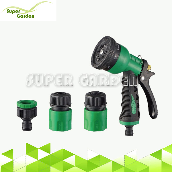 4 pcs 8 Functional Spray Nozzle with Hose Connector Tap Adapter