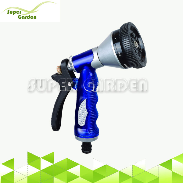 Heavy Duty variable flow control soft grip metal garden car wash water 8 pattern spray gun Hose Nozzle