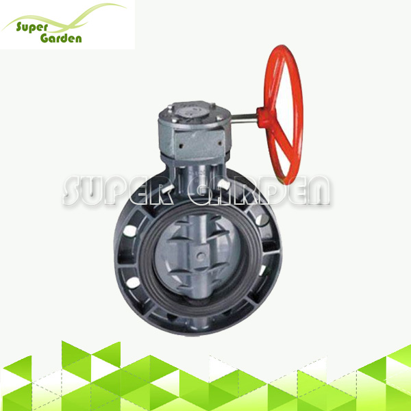 Full sizes wafer gear turbine PVC butterfly valve