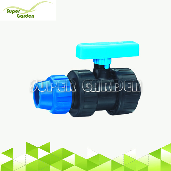 PP compression female thread water ball valve for HDPE pipe